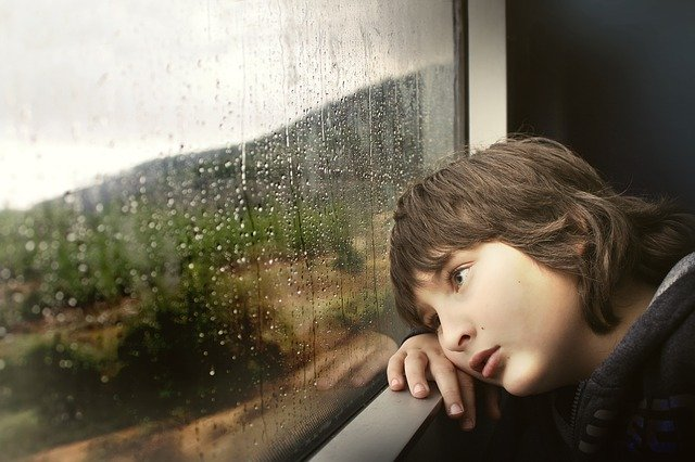 A little boy gazes out the window that splattered with rain drops. You can see trees and mountains outside.